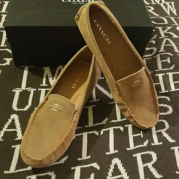 169361f72cf Coach Amber calf suede camel loafers flats 8.5